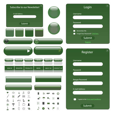 Web template with forms, bars, buttons and many icons. photo