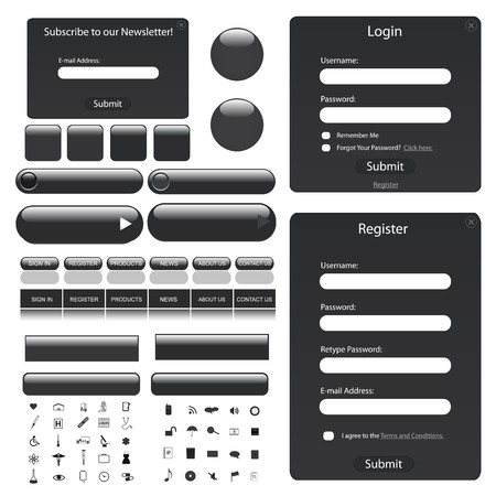grey: Web template with forms, bars, buttons and many icons. Stock Photo