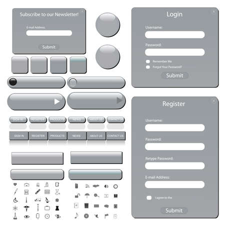 web icons: Silver web template with forms, bars, buttons and many icons.