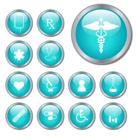 Teal Medical Buttons