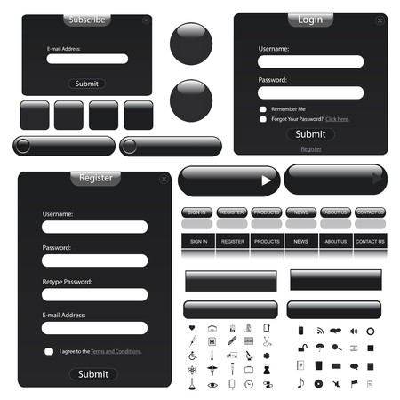 Black theme web template with forms, bars, buttons and many icons! Vector