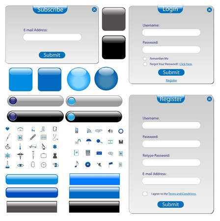 Plantilla web gris con formas, barras, botones y muchos iconos.