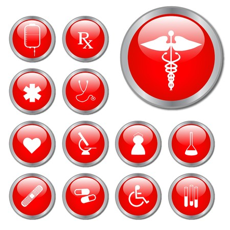 Red Medical Buttons Stock Photo