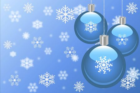 season: Christmas background with ornaments and snowflakes.