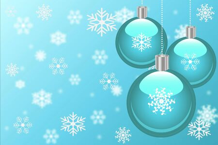 Christmas background with ornaments and snowflakes. photo