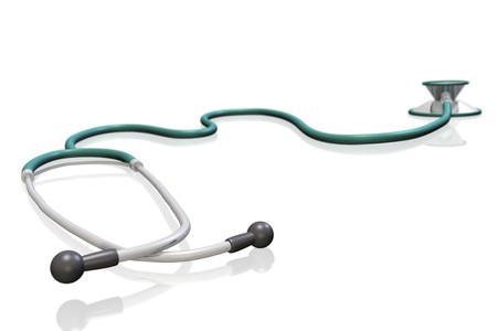 Image of a 3D stethoscope isolated on a white background. photo