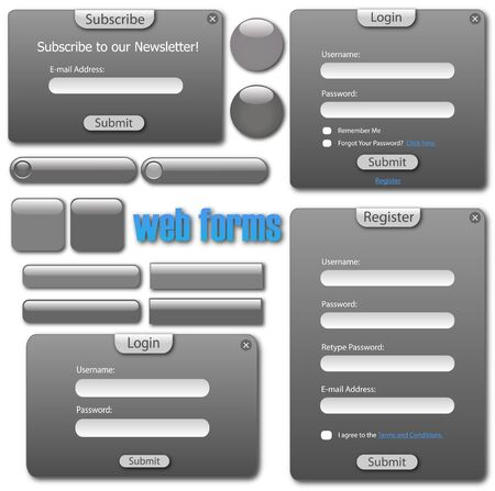 web site design: Image of a various grey web forms and buttons. Stock Photo