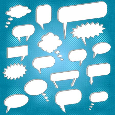 Image of various chat bubbles on a colorful blue background. Stock Vector - 7397781
