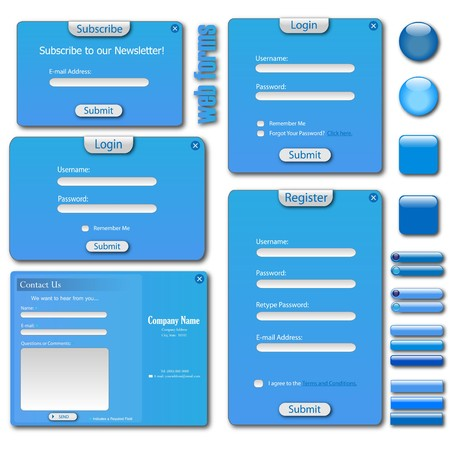 blue button: Colorful blue web template with forms, bars and buttons.