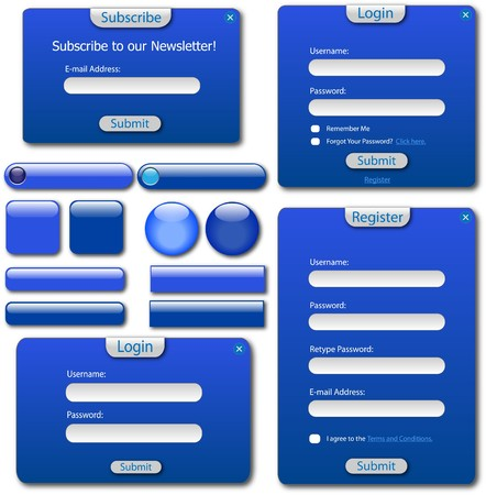 Various blue web forms, bars and buttons. Vector