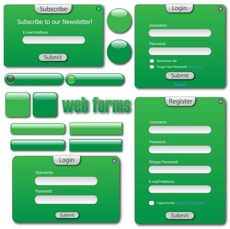 다양 한 녹색 웹 양식, 막대 및 단추입니다. 일러스트