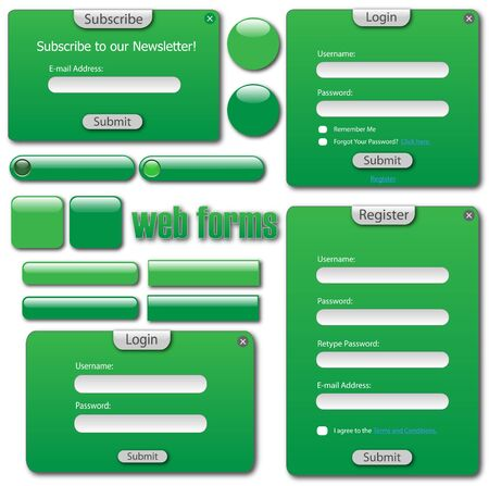 Various green web forms, bars and buttons. Vector