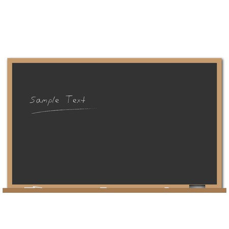 Image of a black chalk board with editable text. Vector