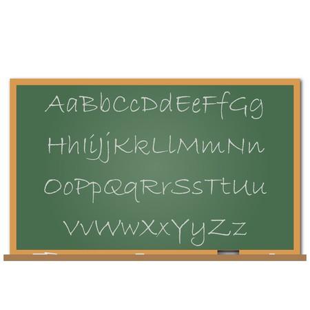 それに書かれたアルファベットとチョーク ボードのイメージ。