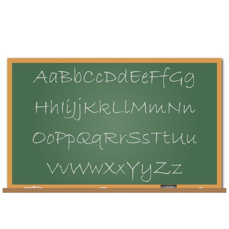eraser: Image of a chalk board with the alphabet written on it. Illustration
