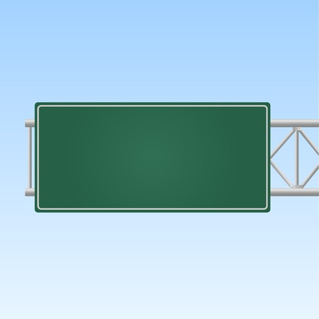 Image of a blank green highway sign against a sky background. Ilustracja