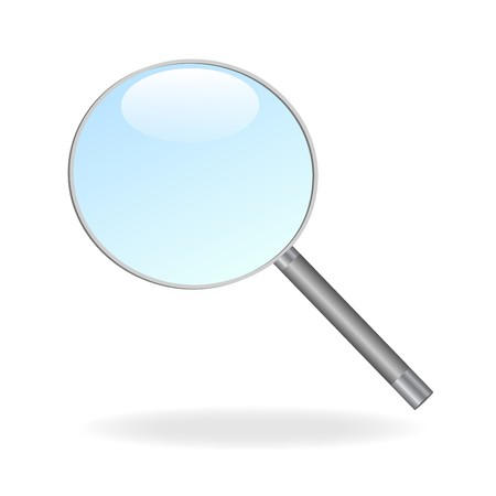 Image of a magnifying glass isolated on a white background. Çizim