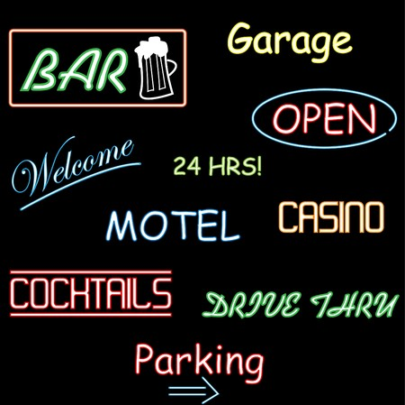 Image of various neon signs on a black background.