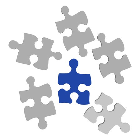 Image of a blue puzzle piece with other puzzle pieces on a white background.