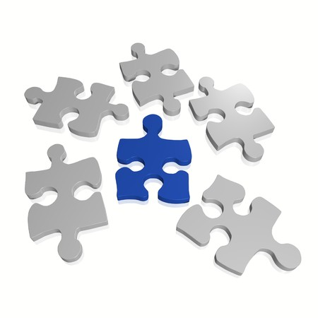 piece: Image of puzzle pieces isolated on a white background.