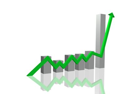Image of a 3D chart soaring with bar graph. Stock Photo