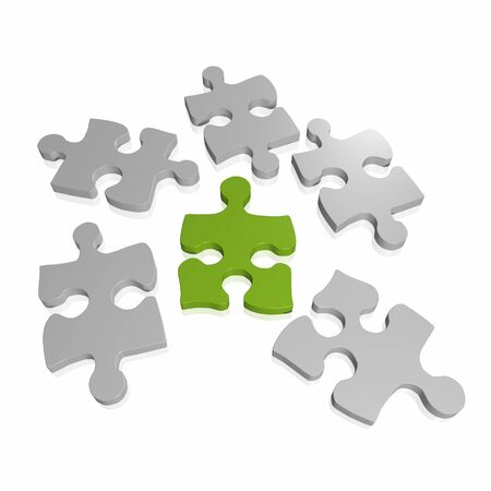 Image of puzzle pieces isolated on a white background.