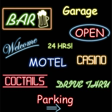 neon sign: Image of various colorful neon signs isolated on a black background. Stock Photo