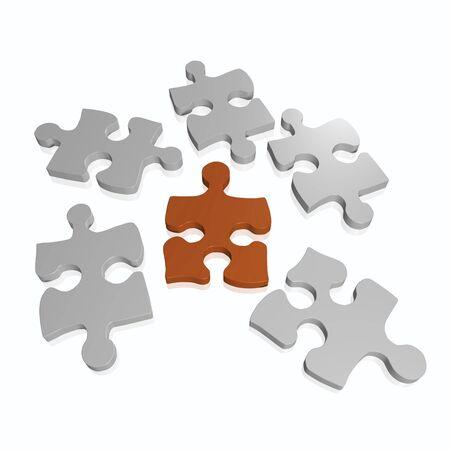 パズルのピースを白い背景で隔離のイメージ。