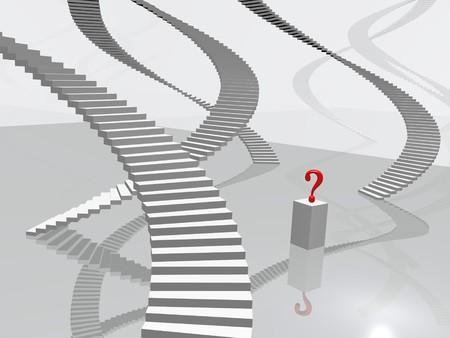 Concept image of a question leading to many options. Фото со стока