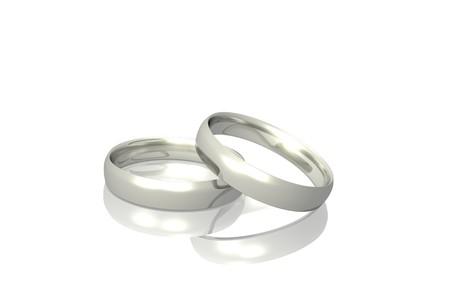 Twee zilver of platina ringen geïsoleerd op een witte achtergrond. Stockfoto