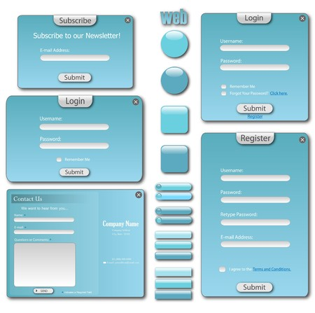 Colorful blue web template with forms, bars and buttons. photo