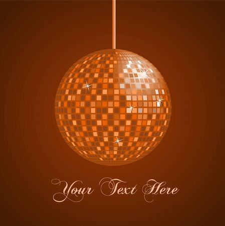 glass reflection: Image of an orange disco ball background.