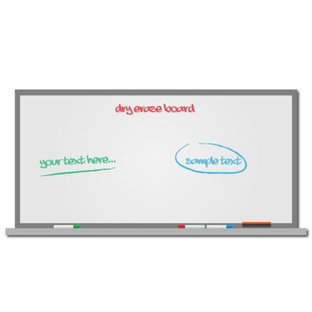 Afbeelding van een droge wissen bord met bewerkbare tekst. Stockfoto