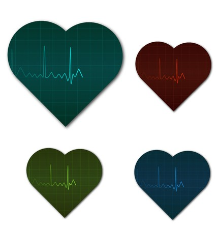 heart monitor: Image of a heart monitor signals in the shape of a heart.