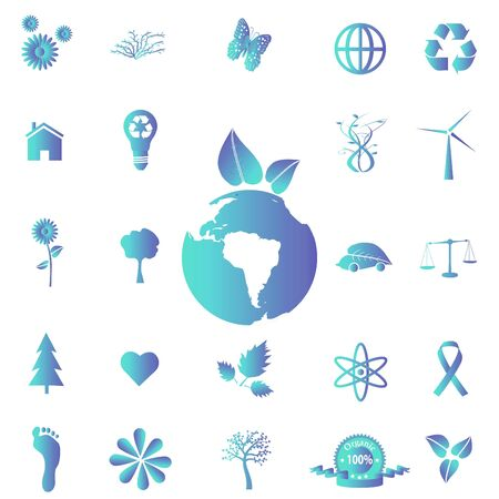 Image of various blue eco-friendly icons on a white background. Stock Photo - 7550411
