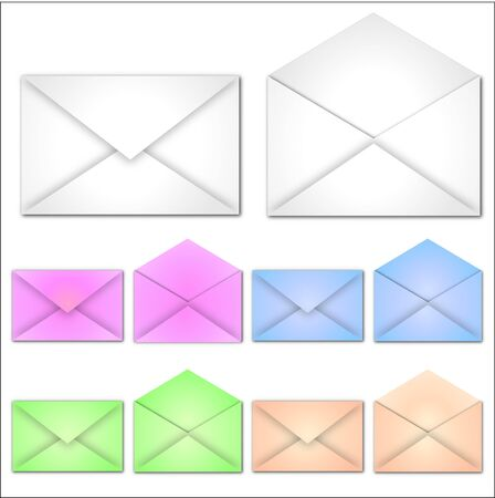 Image of various colorful envelopes isolated on a white background. Stock Photo - 7550400