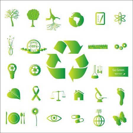 各種の環境に優しい緑色のアイコン、白い背景で隔離のイメージ。 写真素材
