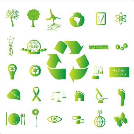 recycling: Image of various eco-friendly green icons isolated on a white background.