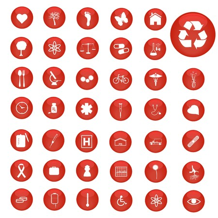 Image of various icons on colorful red buttons. photo