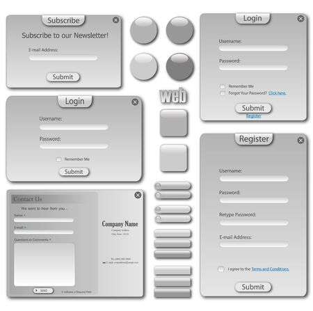 Web template with forms, bars and buttons. photo