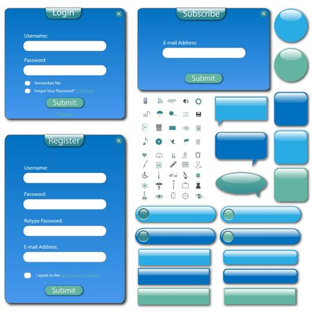 Colorful web template with forms, bars and buttons. photo