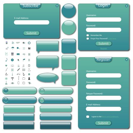 web site design: Colorful web template with forms, bars, buttons and icons.
