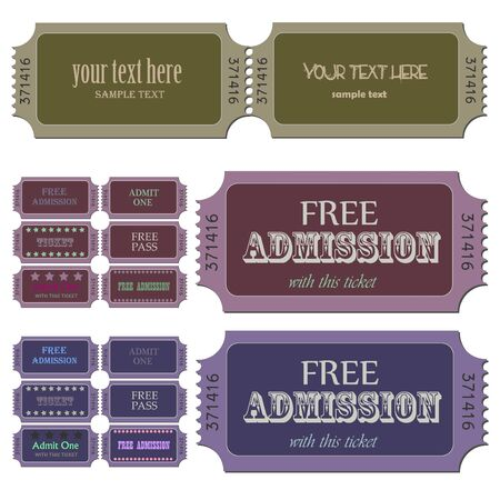 Image of various admission tickets with editable text. Stock Vector - 7580744