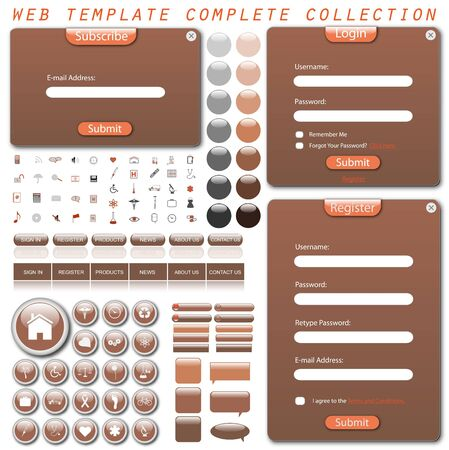 Complete web template with forms, bars, buttons, icons and chat bubbles. Vector