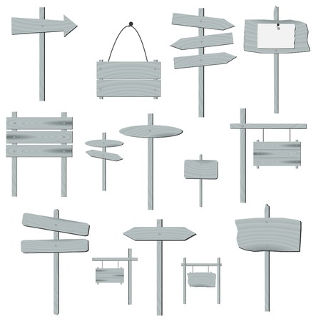 plywood: Image of various grey wooden signs isolated on a white background.