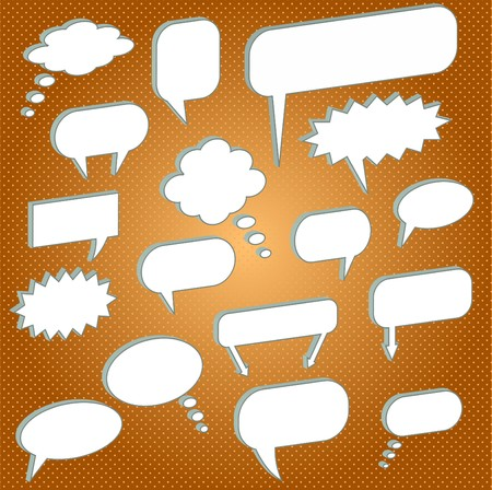 Image of various chat bubbles on an orange background. Stock Photo - 7645362