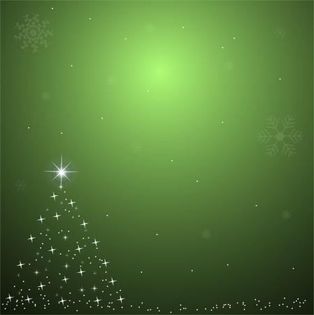 Afbeelding van een kleurrijke, groene Kerst achtergrond scène. Stockfoto