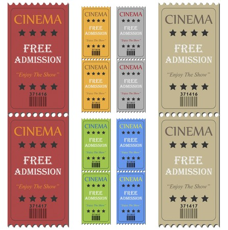 1: Image of various colorful cinema tickets isolated on a white background. Stock Photo
