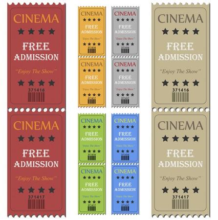 Imagen de varias entradas de cine coloridos aislado en un fondo blanco.  Foto de archivo