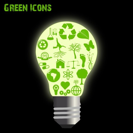 Concept image of various green eco-friendly icons inside of a light bulb. Stock Photo - 7645356
